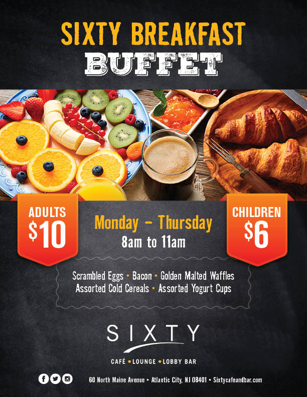 Breakfast Menu - Sixty Cafe & Bar - FantaSea Resorts - Atlantic City, NJ